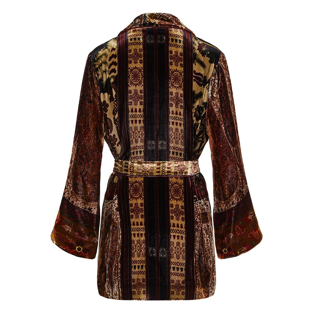 Patchwork print velvet kimono jacket