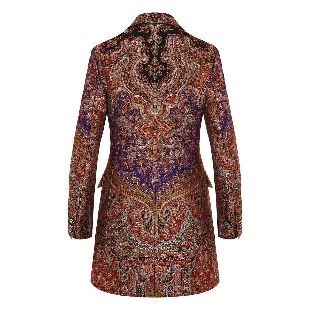 Paisley double-breasted jacquard coat