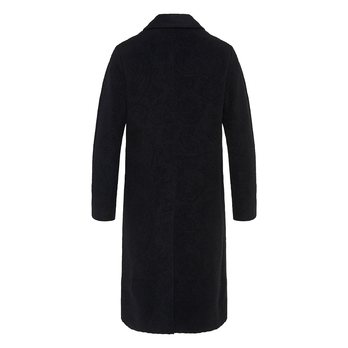 Oversized paisley wool coat