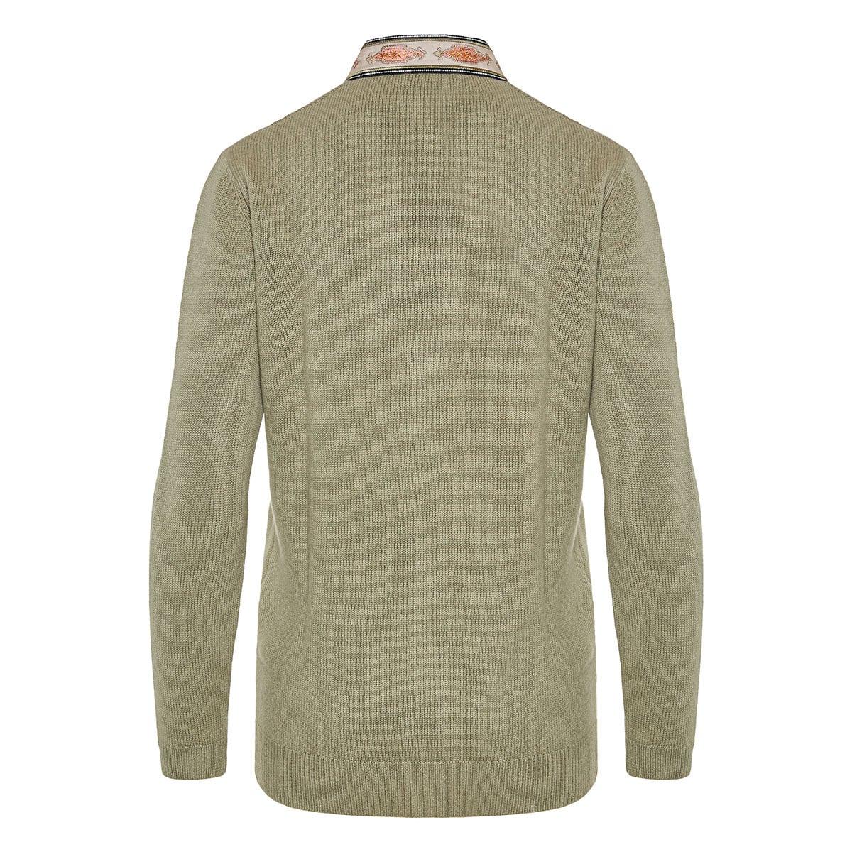 Embroidered-trim cardigan