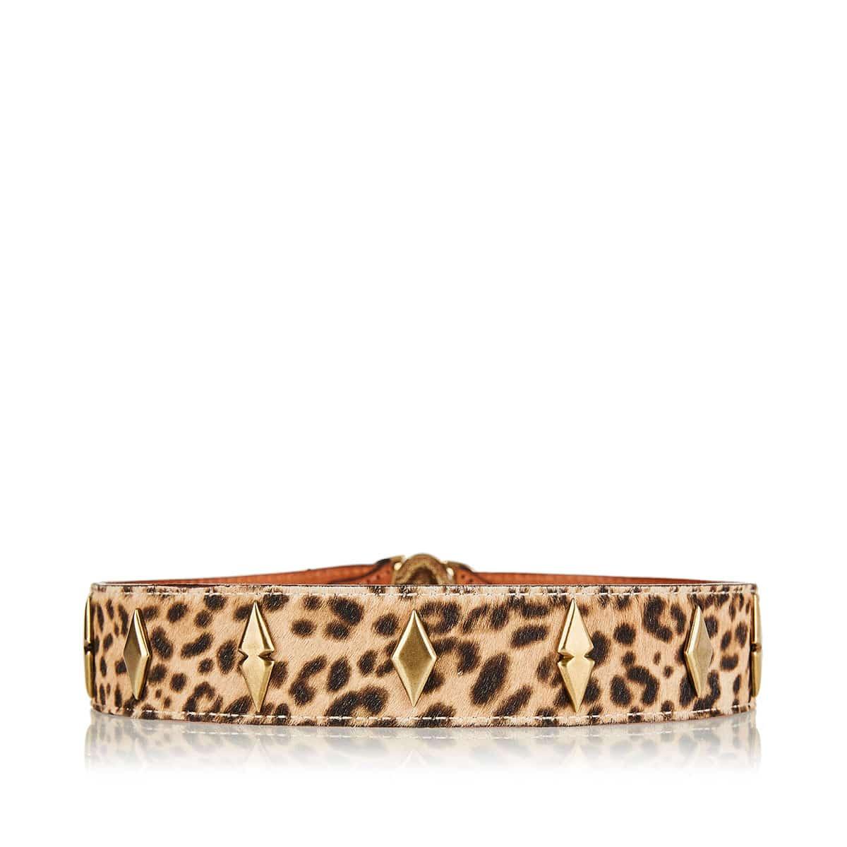 Embellished leopard-printed calf hair belt