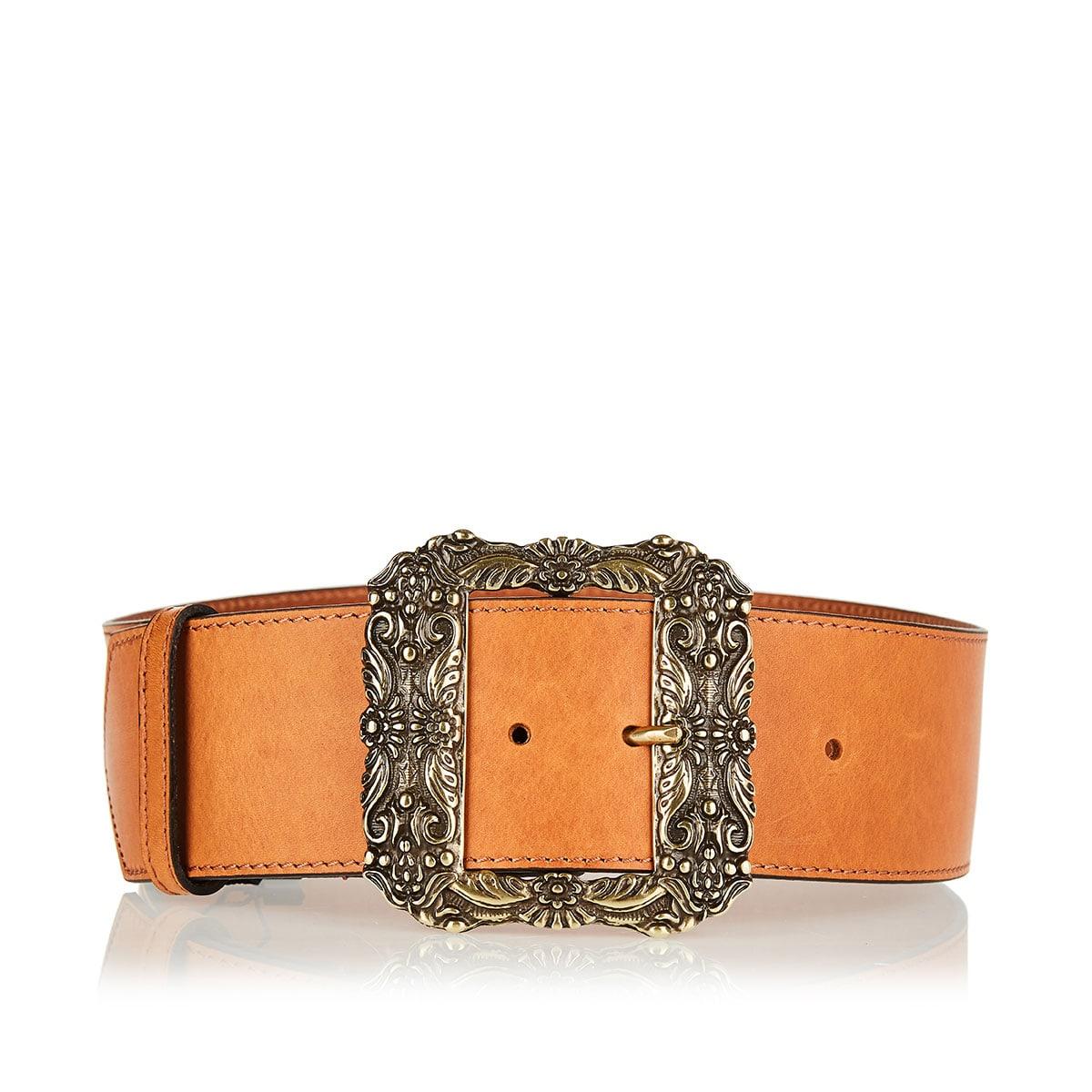 Wide belt with oversized metal buckle