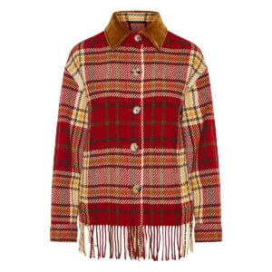 Fringe-trimmed checked jacket