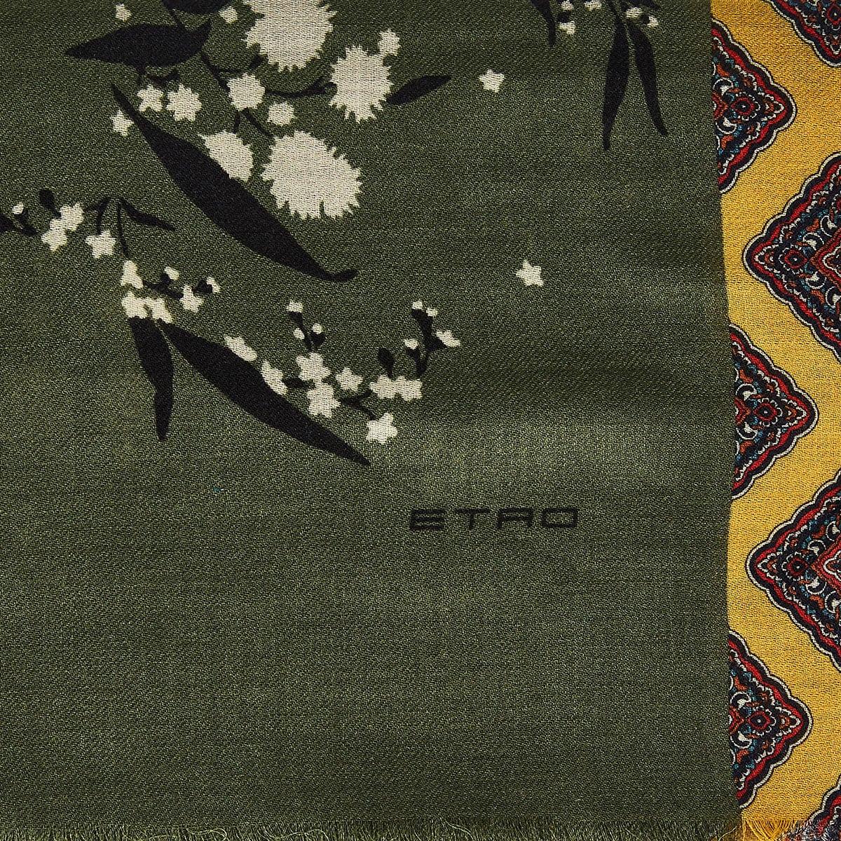 Printed wool-silk scarf