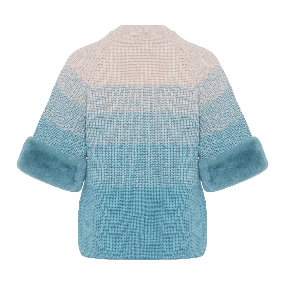 Fur-trimmed gradient knitted sweater