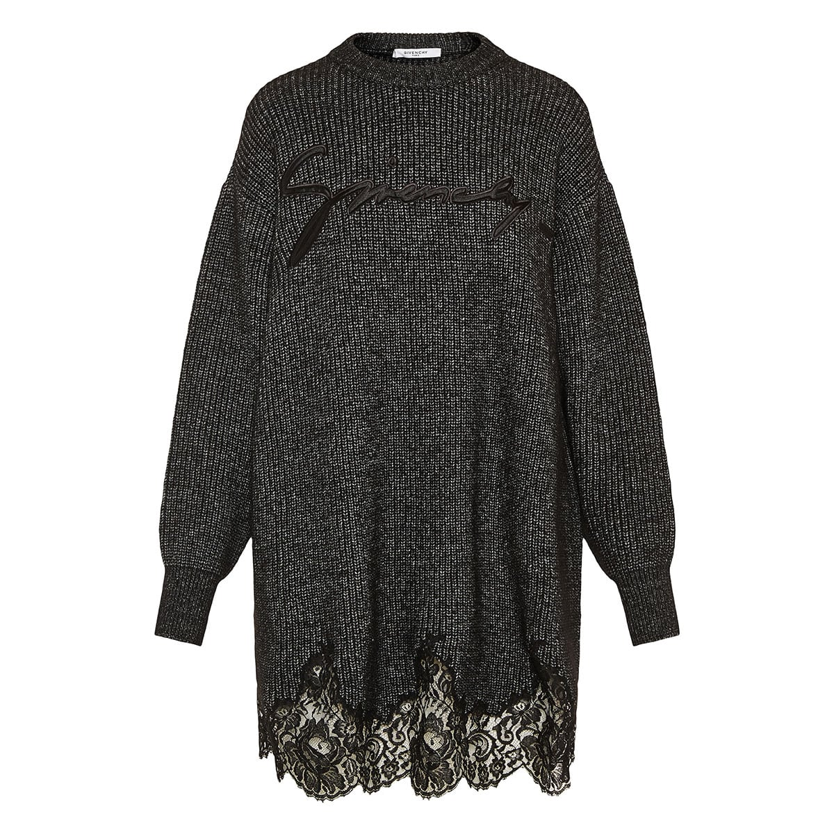 Lace-trimmed oversized logo sweater