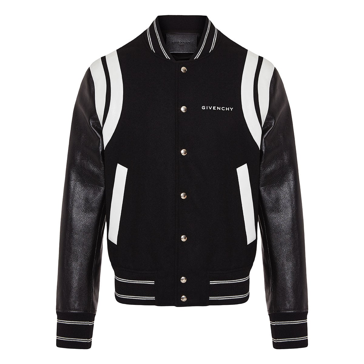 Wool and leather logo bomber jacket