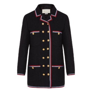 Button-embellished wool woven blazer