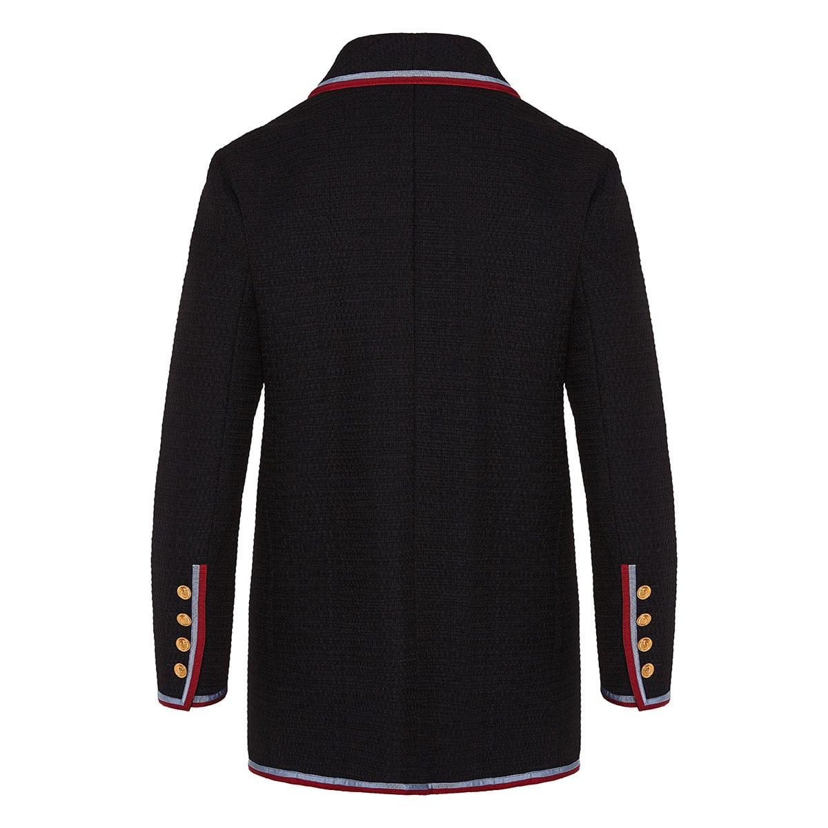 Button-embellished wool woven blazer