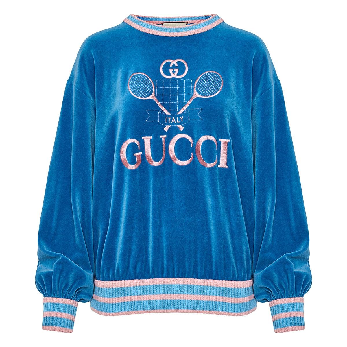 0ba334c41 Oversized Gucci Tennis chenille sweatshirt | LuisaWorld