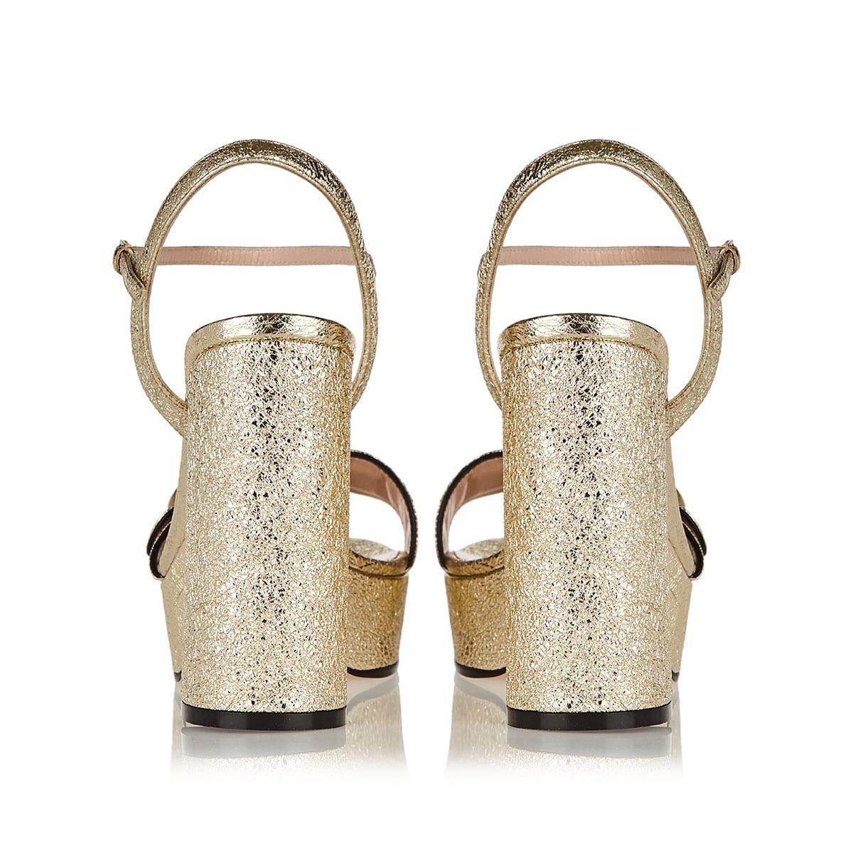 Double G metallic platform sandals