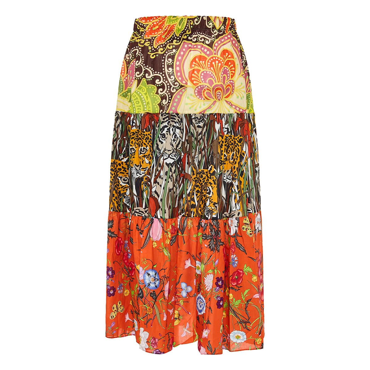 Patchwork-printed long tiered skirt
