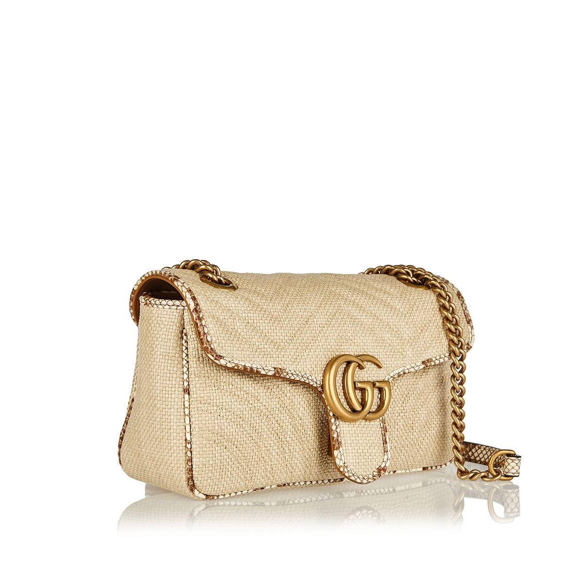 GG Marmont small raffia bag
