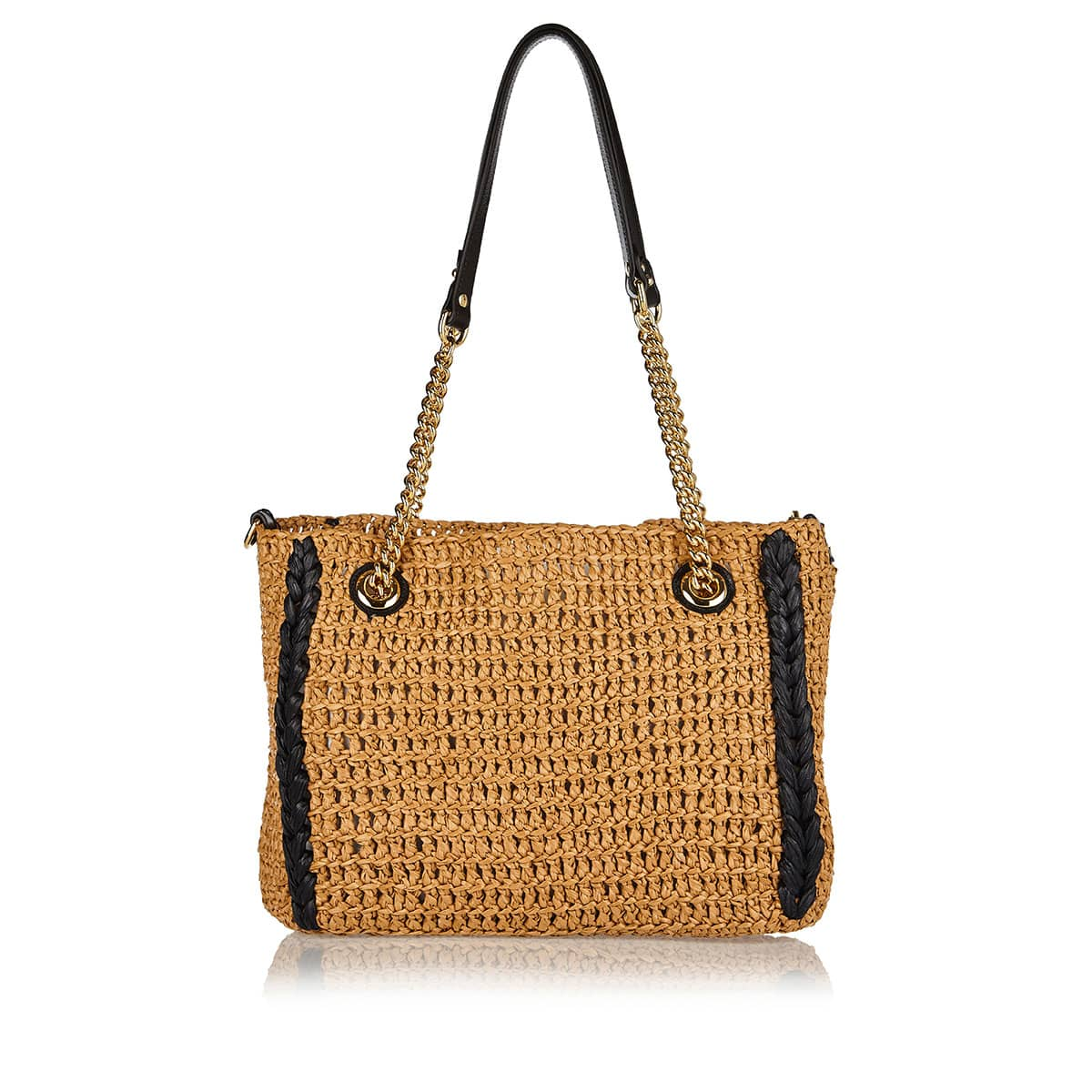 GG Marmont raffia-effect medium tote bag