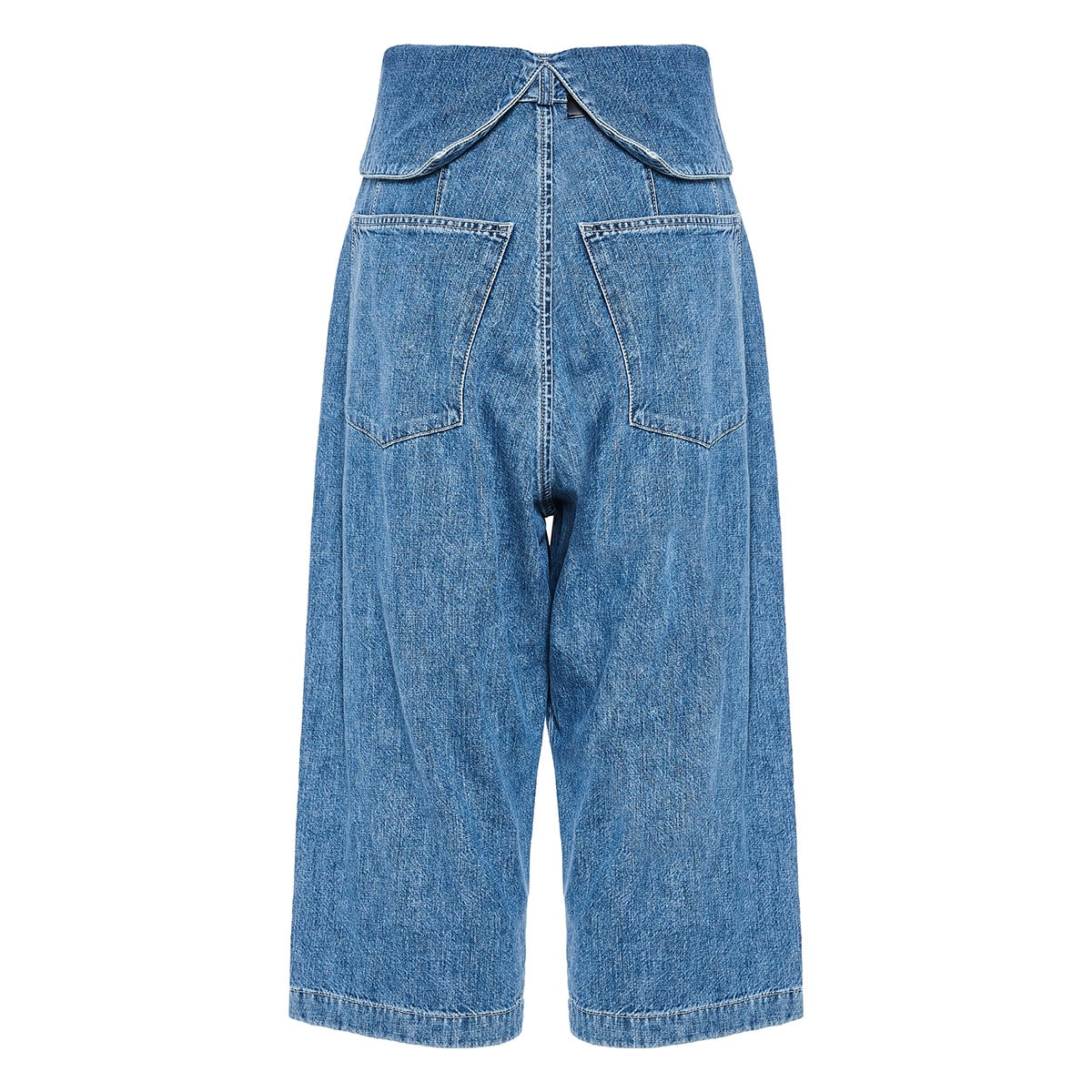 Denim culotte trousers with folded waist