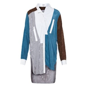 Color-blocking asymmetric jacquard shirt