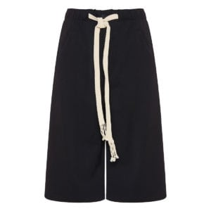 Wide-leg long wool shorts