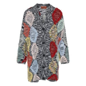 Patchwork-effect printed wool cardigan