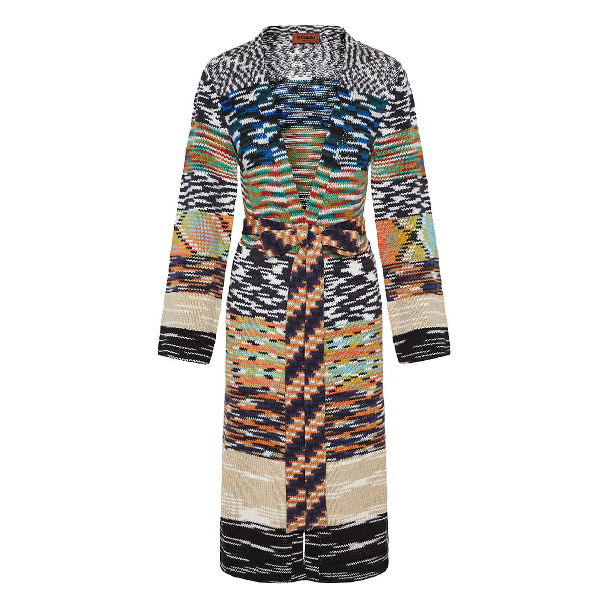Patchwork-printed long belted cardigan