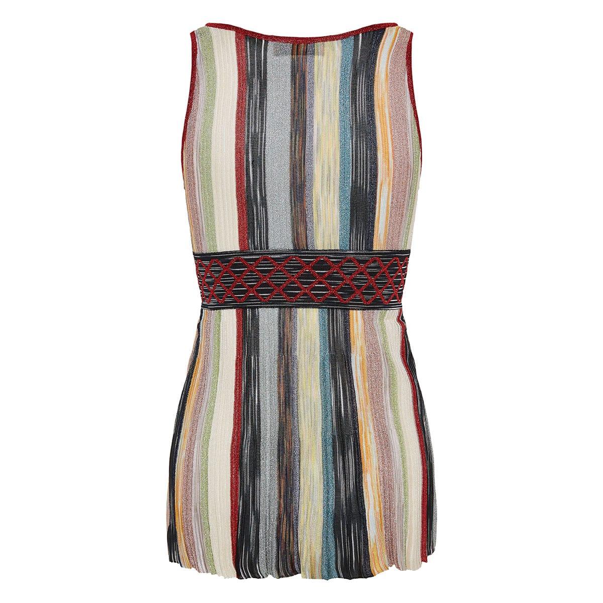 Wrap-effect lurex striped top