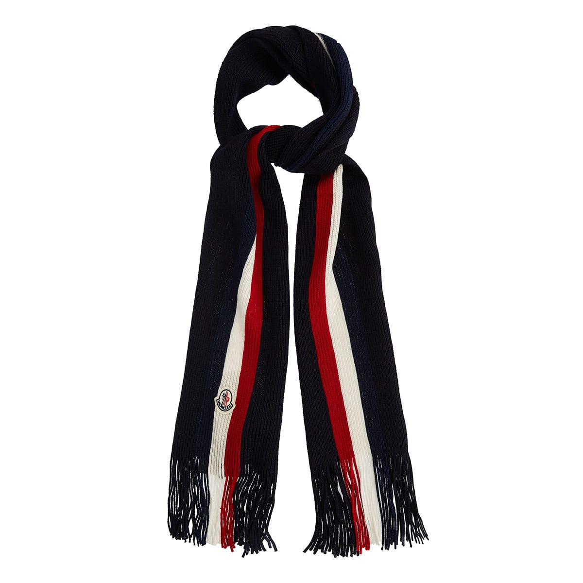 Fringed striped wool-knitted scarf