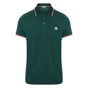 Stripe-trimmed logo polo shirt