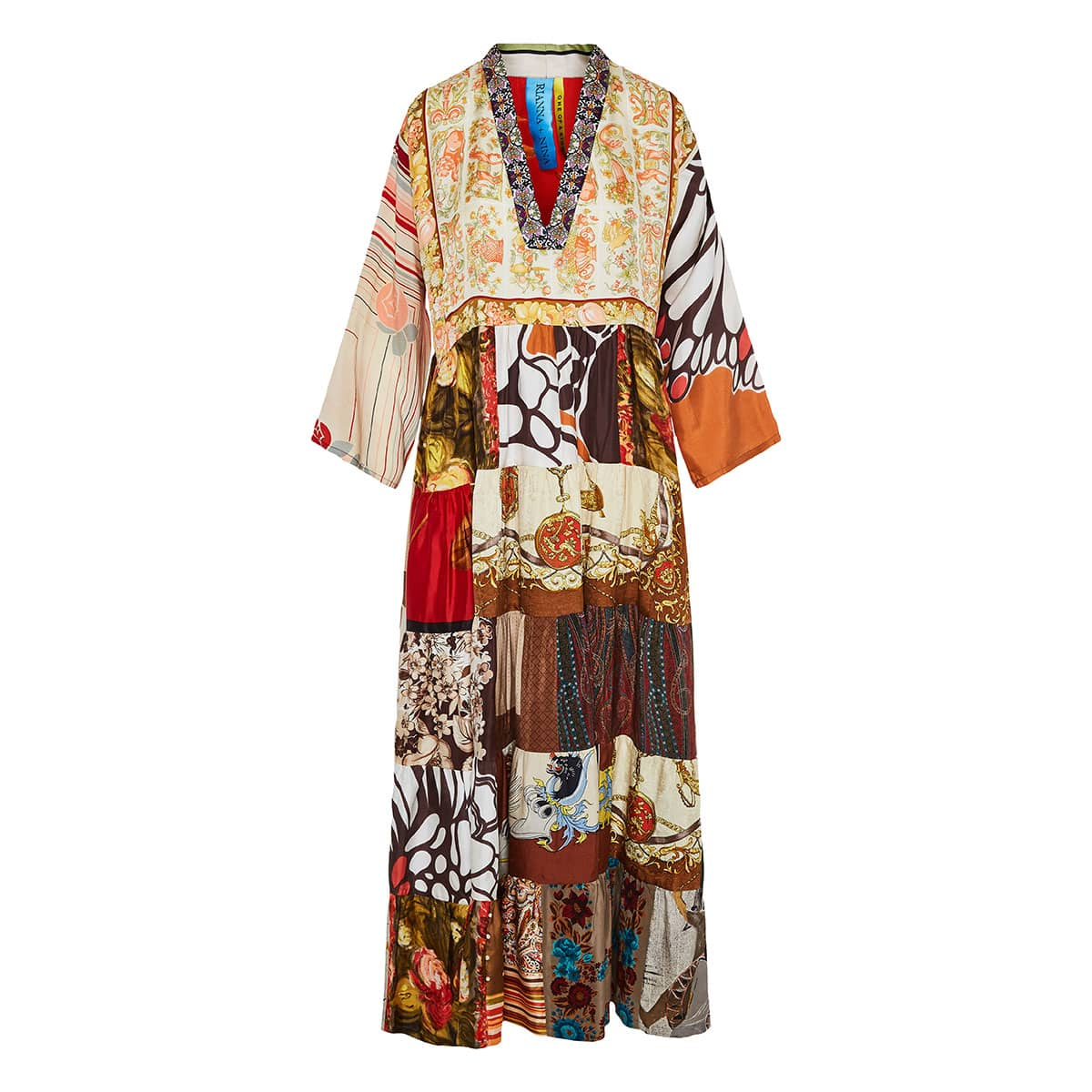 Vintage-scarves patchwork tiered dress