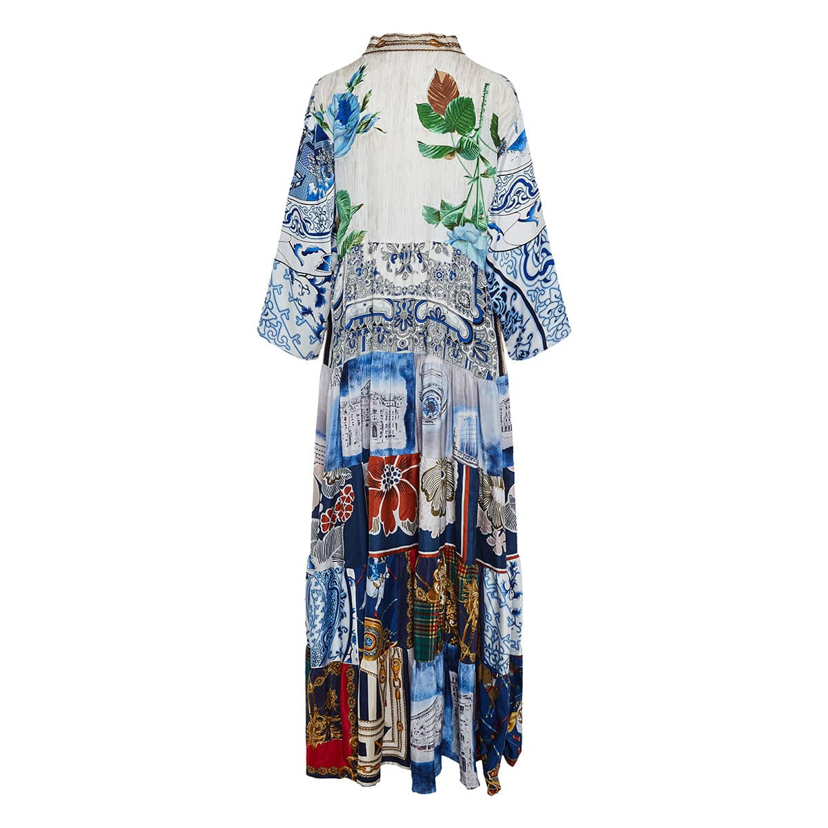 Vintage-scarves patchwork tiered dress