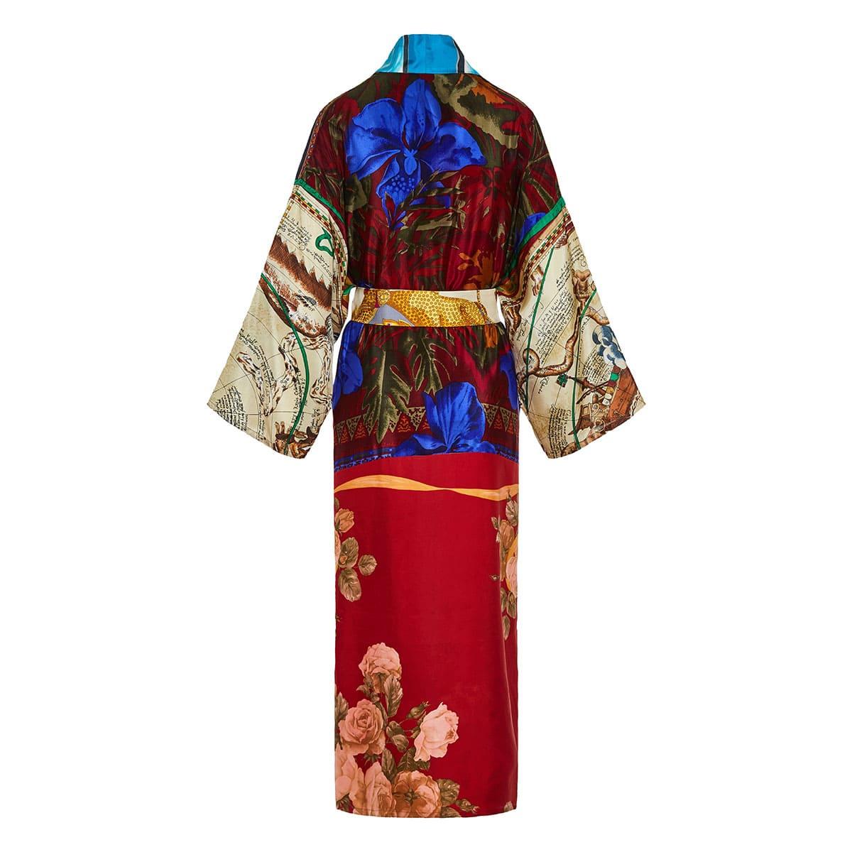 Patchwork printed silk kimono
