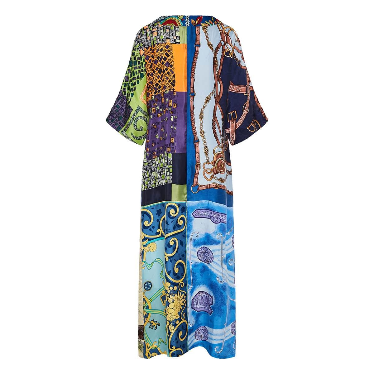 Patchwork printed kaftan dress