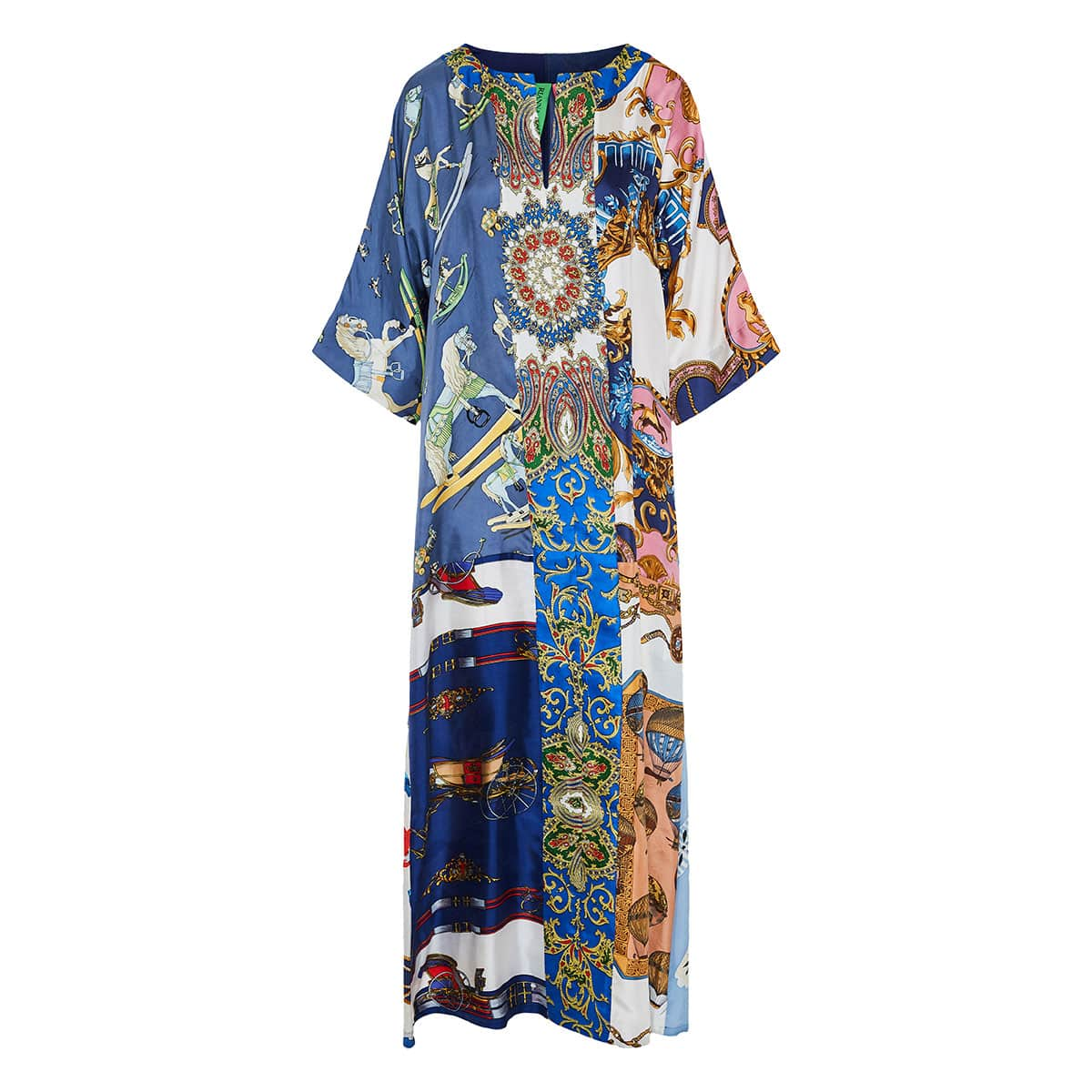 Patchwork printed kaftan dress