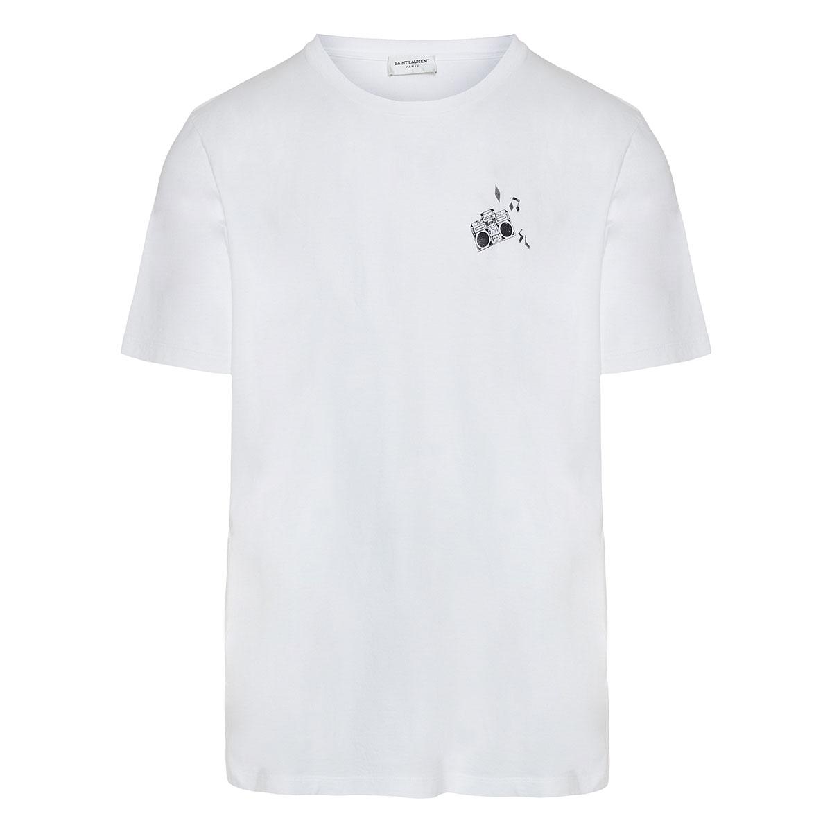 Boombox-print cotton t-shirt
