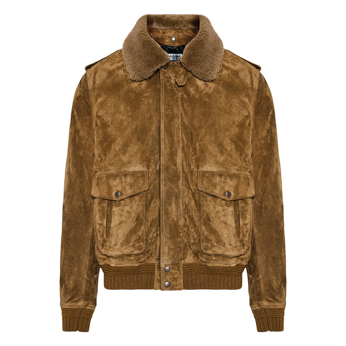 Shearling-trimmed suede jacket