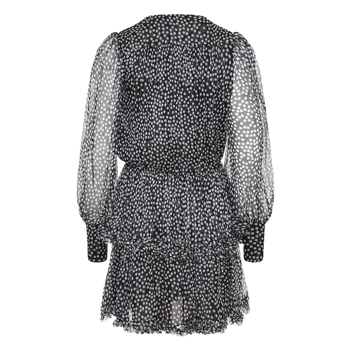 Polka-dot chiffon mini dress