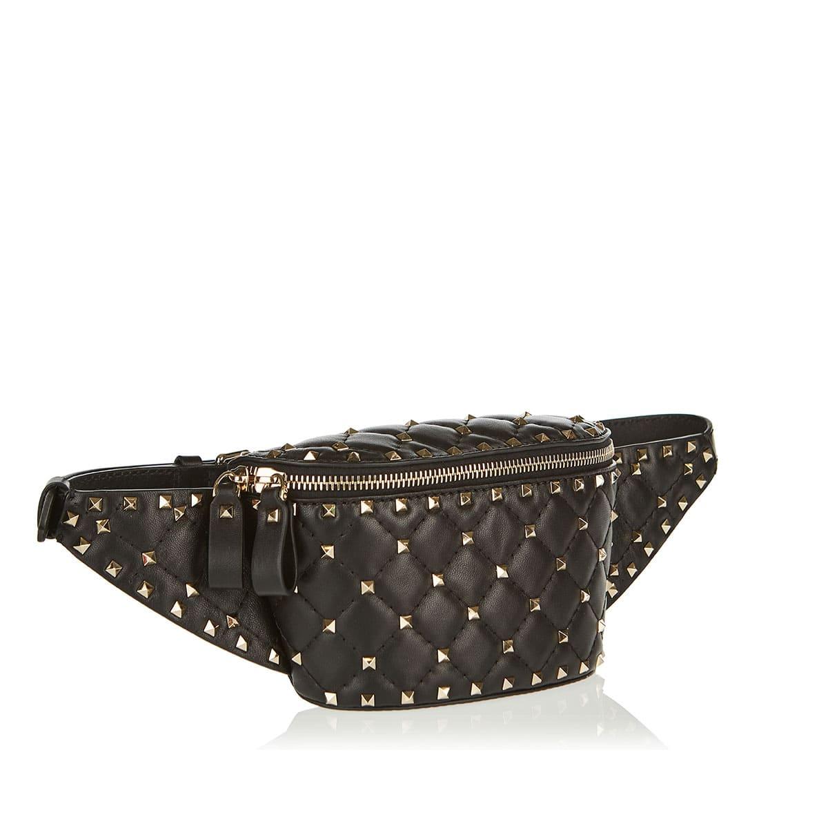 Rockstud leather belt bag
