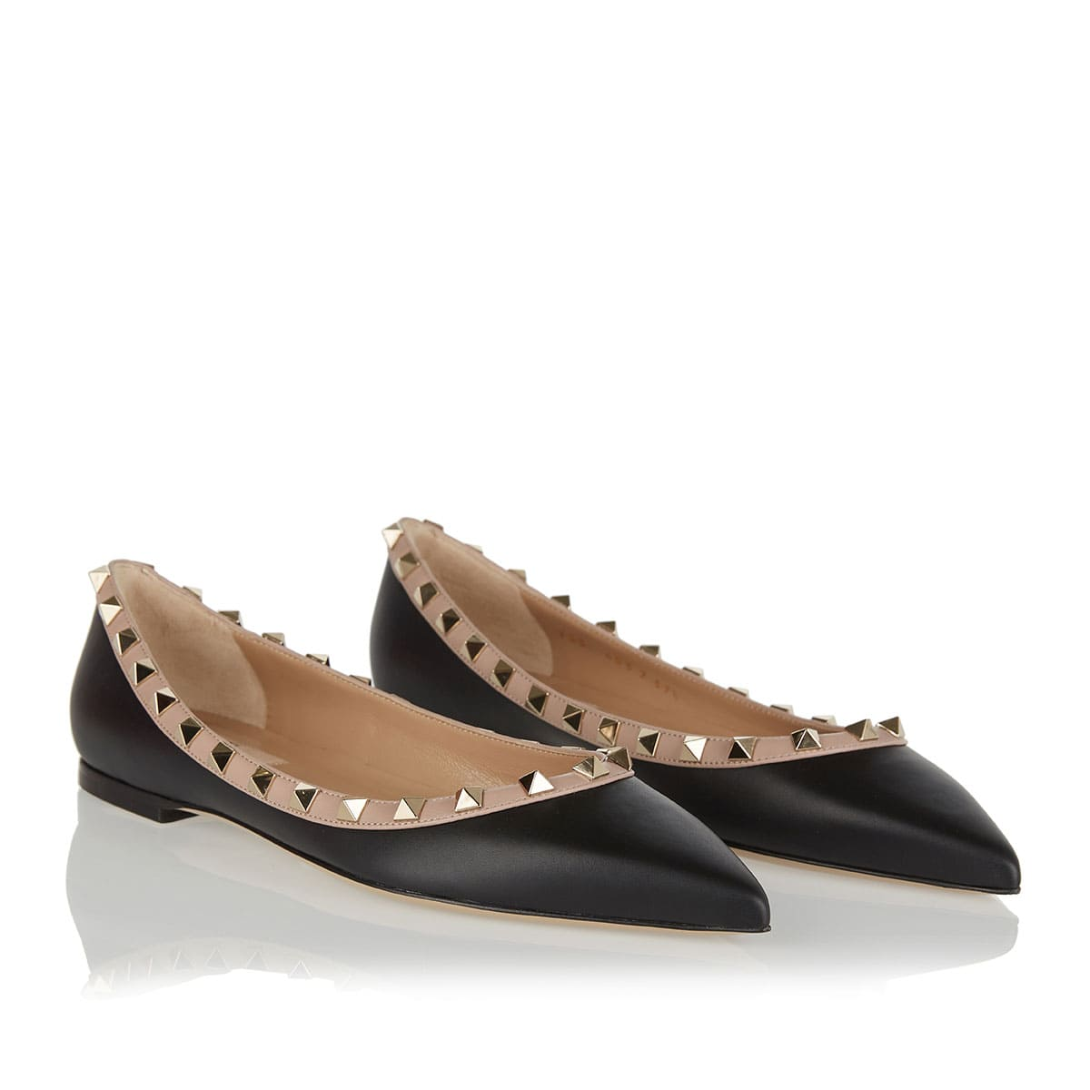 Rockstud leather flat shoes