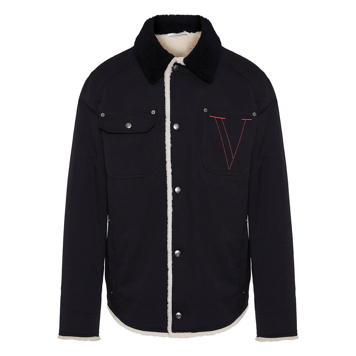 V-embroidered shearling and cotton jacket