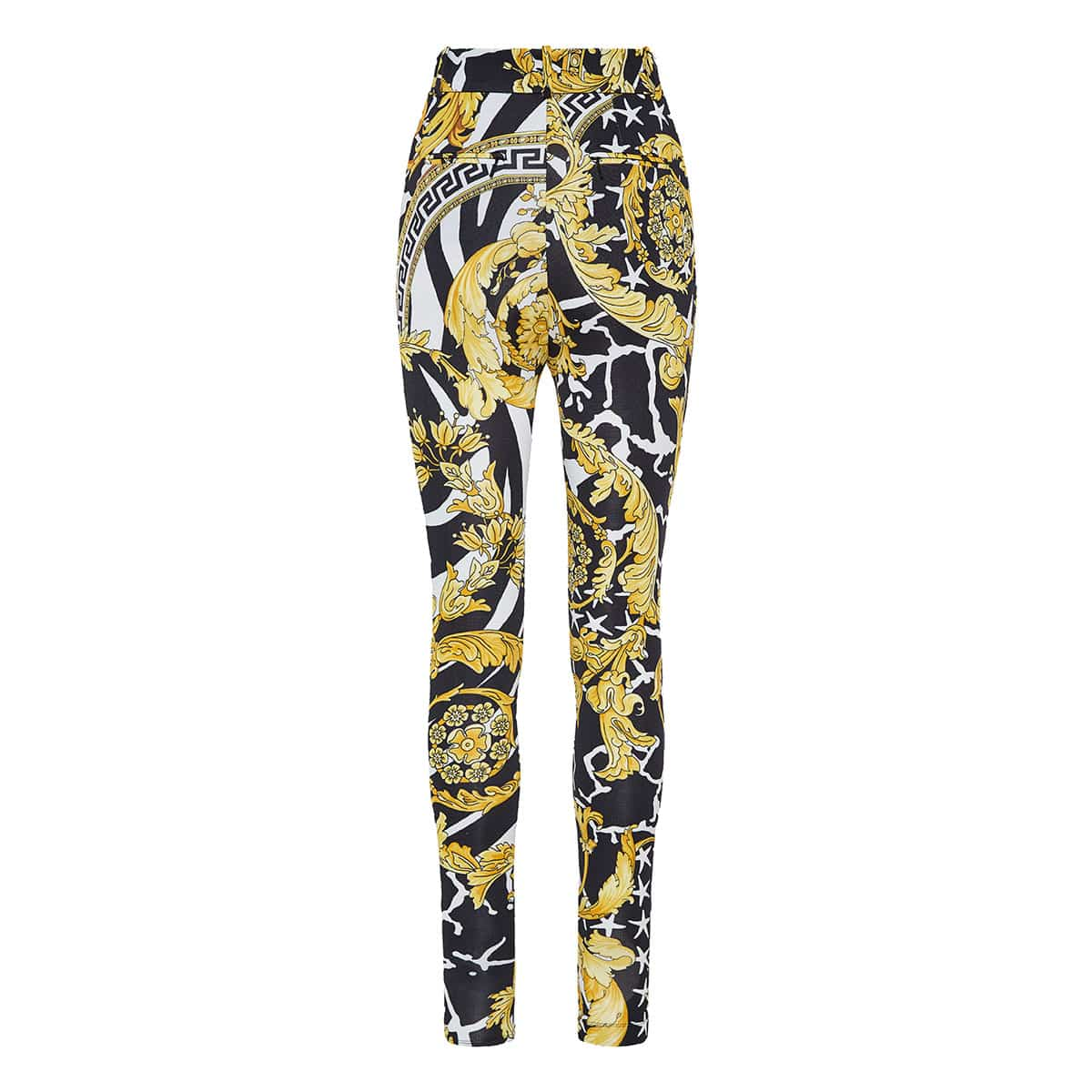 Baroque print skinny trousers