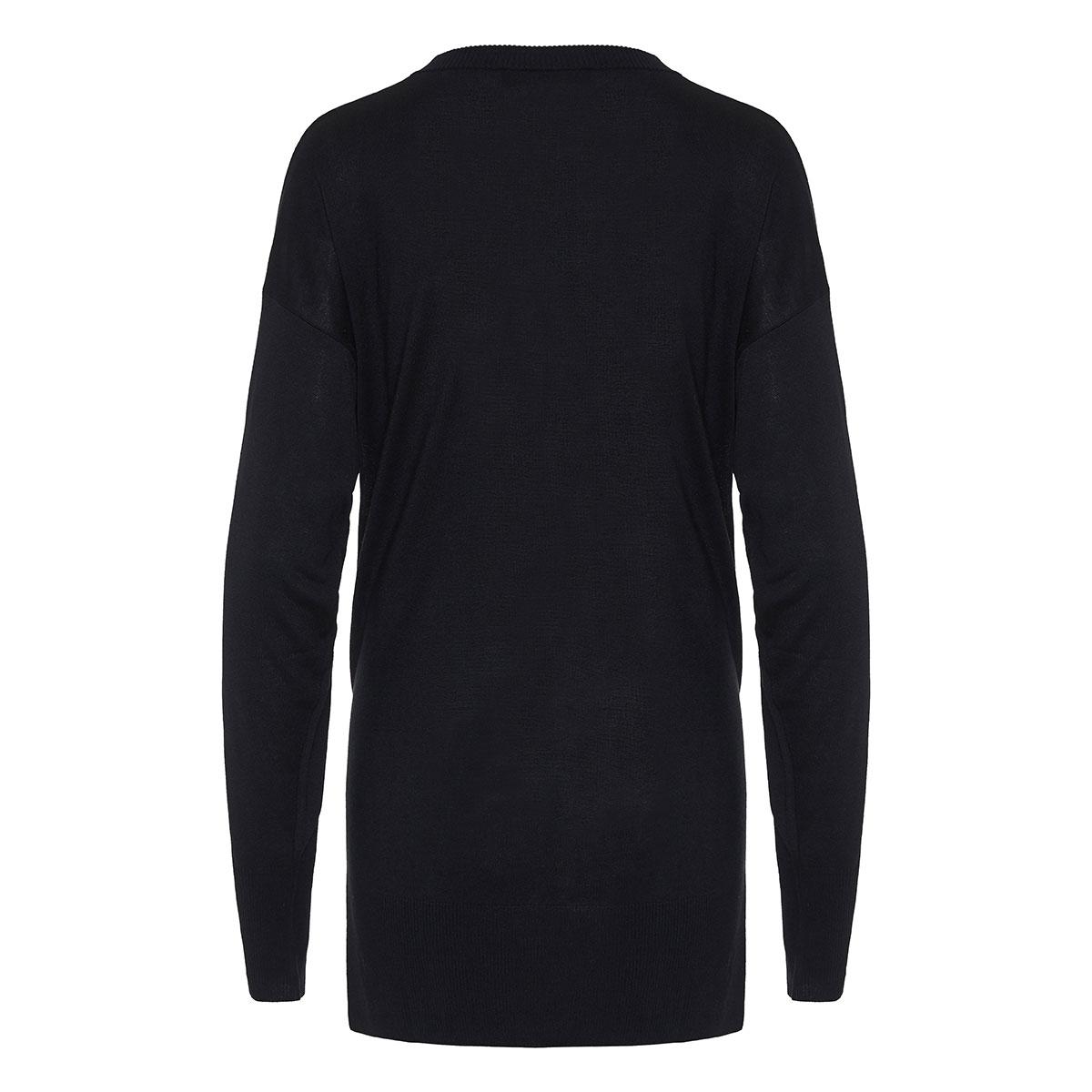 Pin-embellished oversized sweater