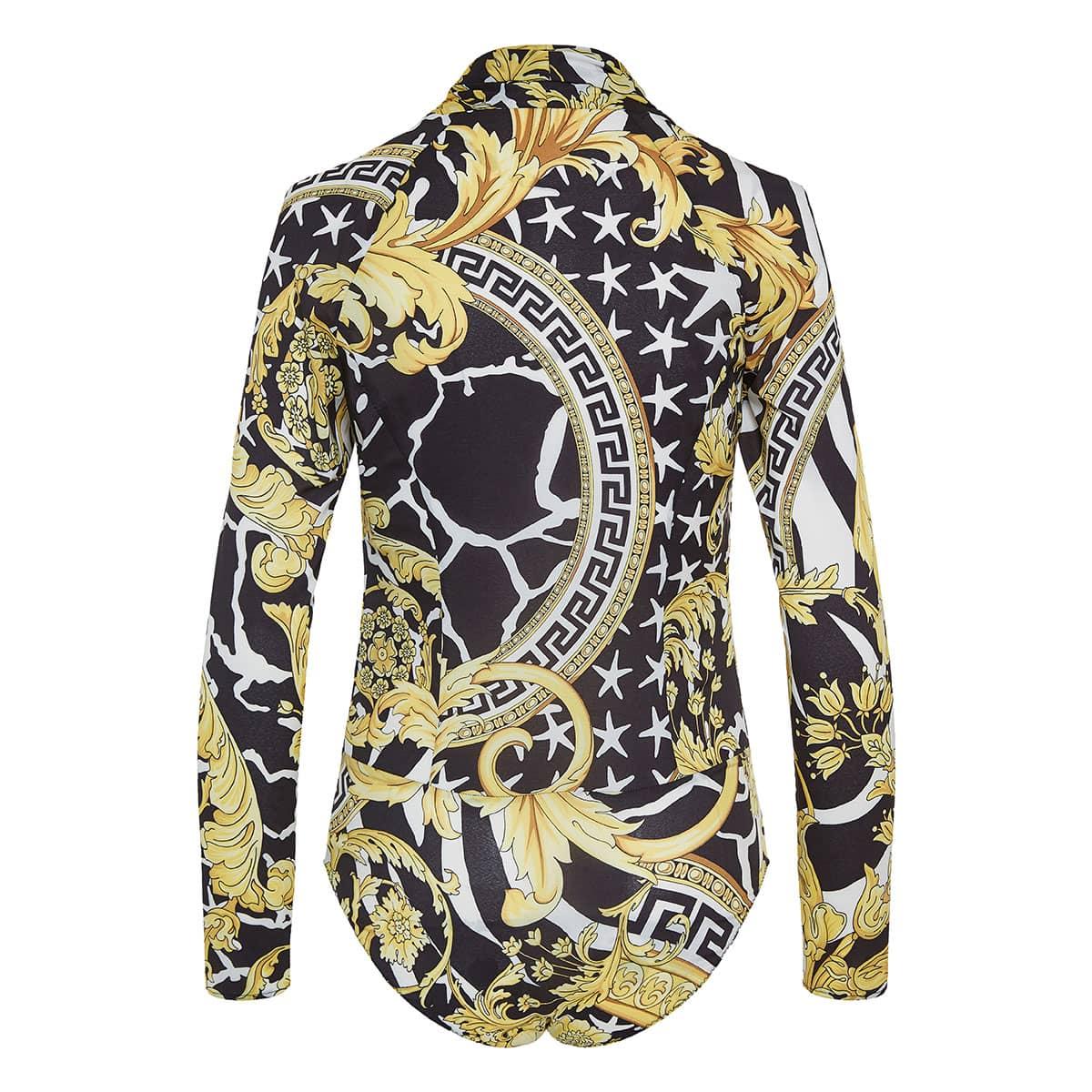 Baroque print draped bodysuit