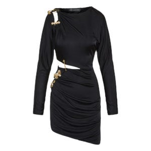 Pin-embellished draped mini dress