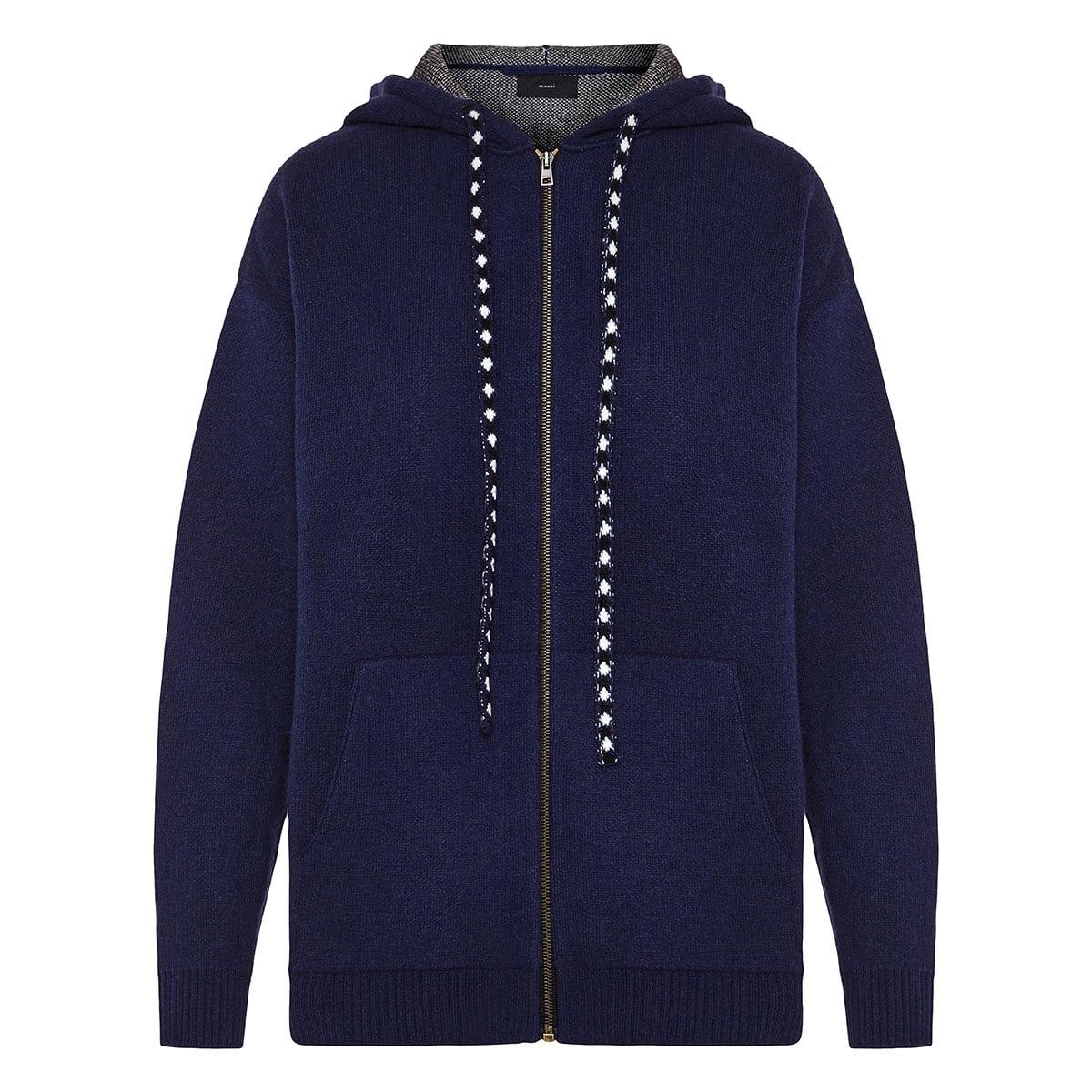 Bandana knitted zipper hoodie