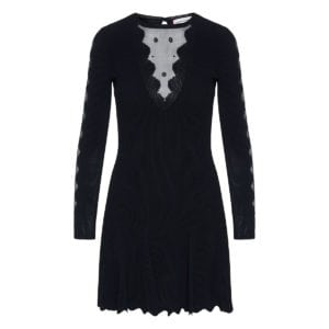 Sheer-paneled knitted mini dress