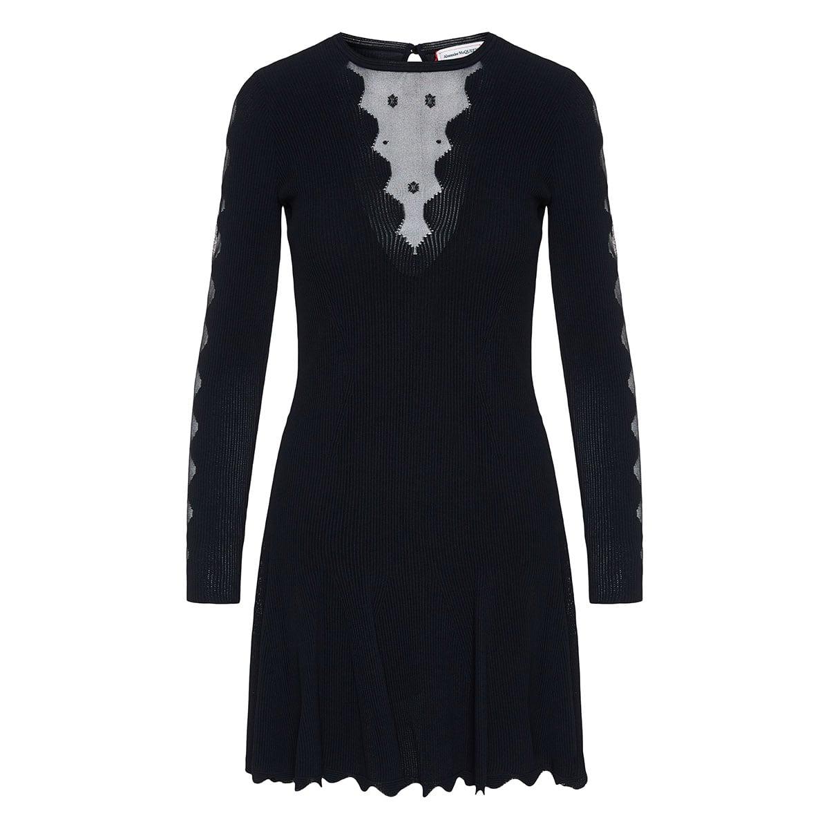 Sheer-paneled knitted mini dress