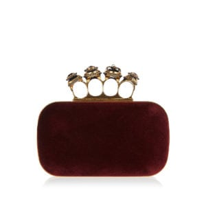 Four ring velvet box clutch
