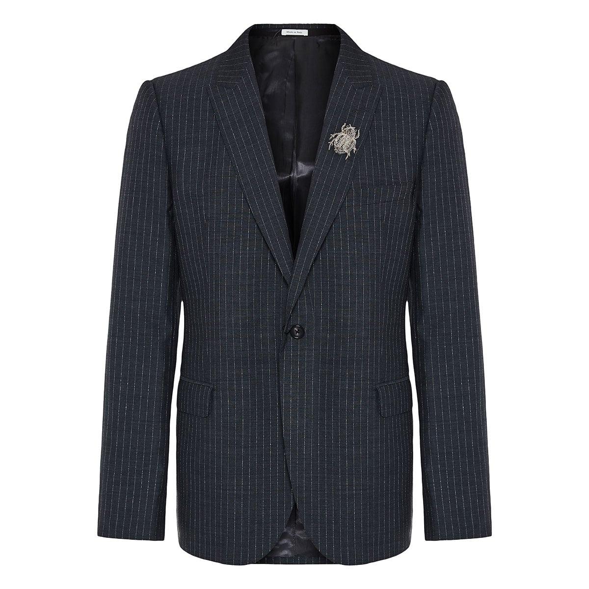 Embellished pinstripe wool blazer