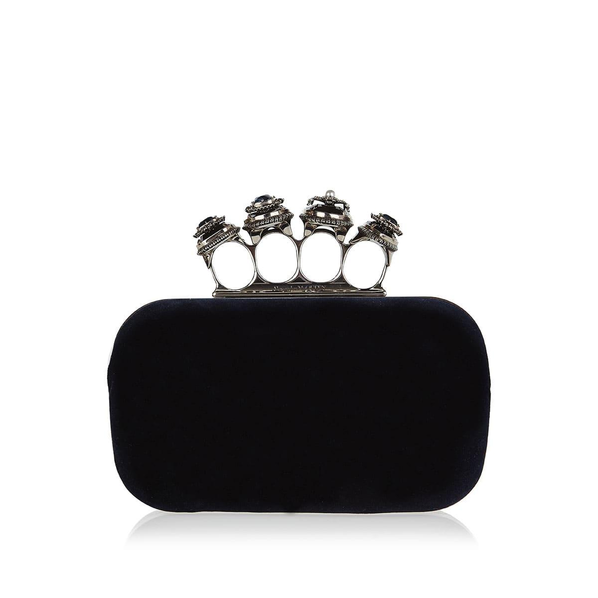 Four ring velvet box clutch