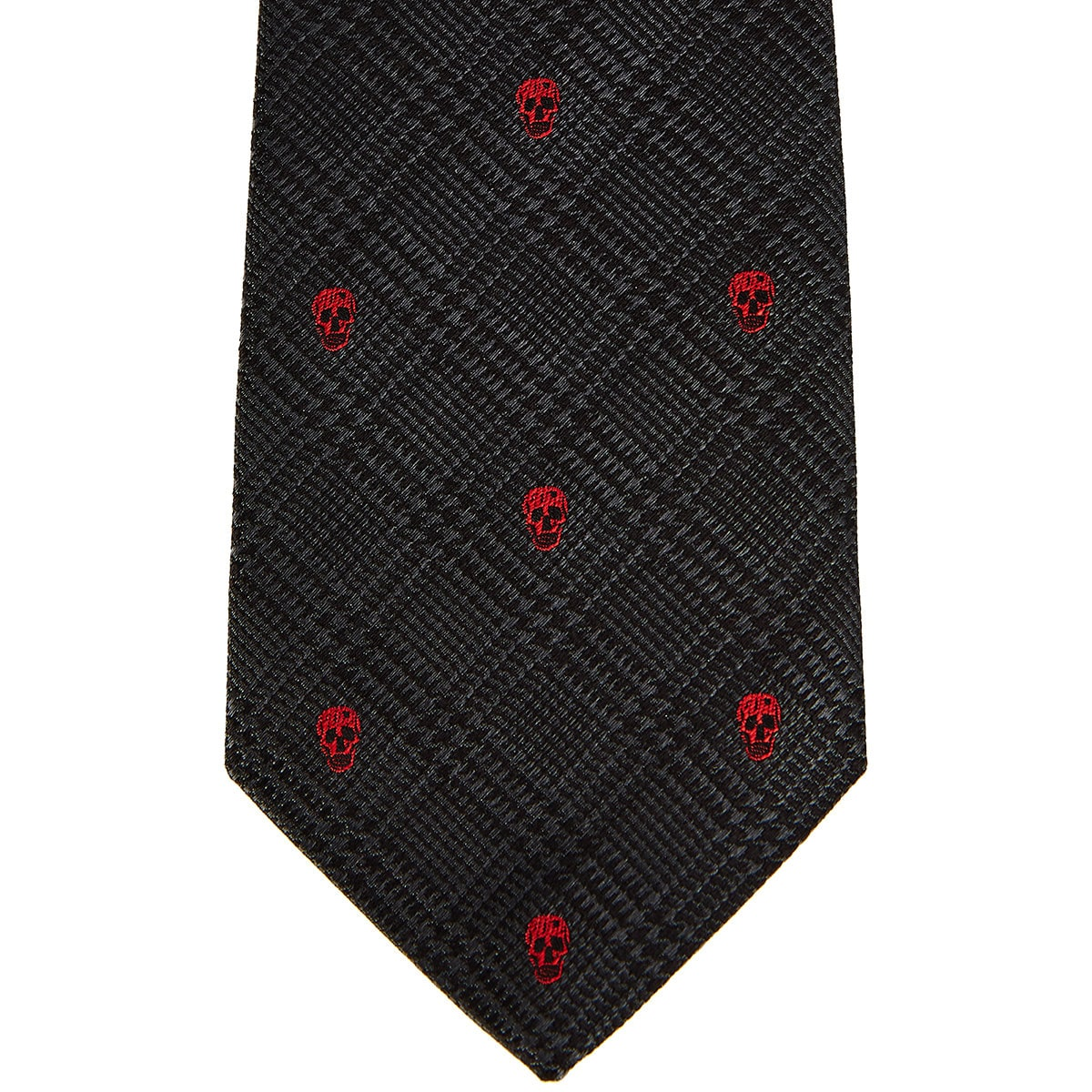 Skull-embroidered checked tie