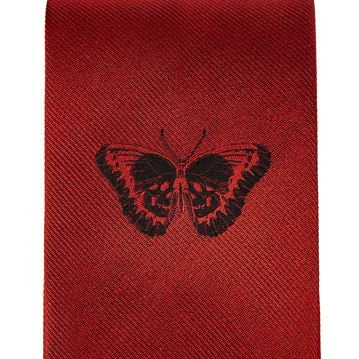 Embroidered butterfly silk tie