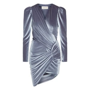 Asymmetric draped velvet mini dress